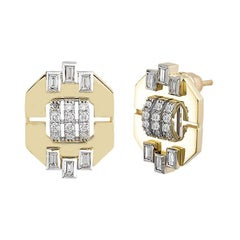 18 Karat Yellow Gold, Baguette Cut Diamond, Round Diamond, Audrey Earrings