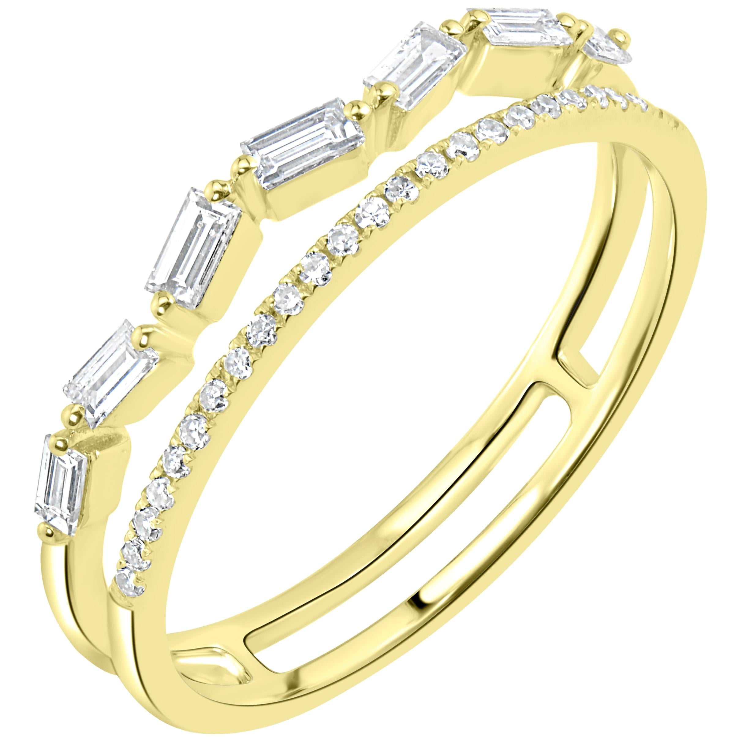 18 Karat Yellow Gold Baguette Diamond Band Ring