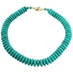18 Karat Yellow Gold Baguette Sapphires Turquoise Bead Necklace