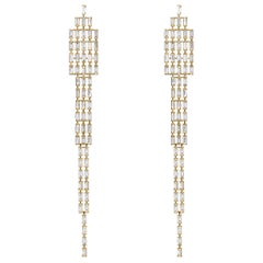 18 Karat Yellow Gold Baguette Tapered Diamond Earrings