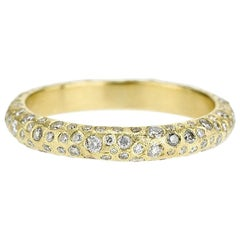 Todd Reed 18K Yellow Gold Band Ring with White Encrusted Diamonds