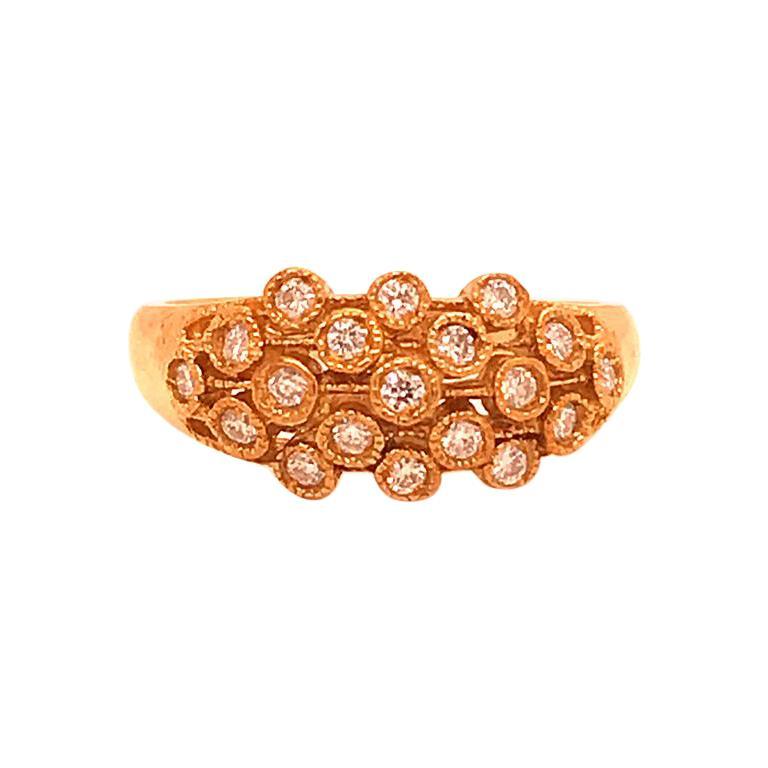3.7 Carat Half Way Diamonds 18 Karat Yellow Gold Bezel Ring