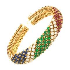 18 Karat Yellow Gold Barber Pole Diamond, Ruby, Emerald and Sapphire Bracelet