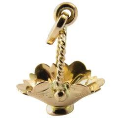 18 Karat Yellow Gold Basket Charm