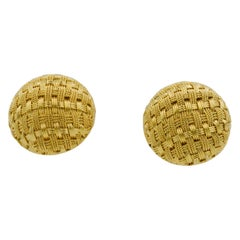 18 Karat Yellow Gold Basket Weave Button Clip Earrings