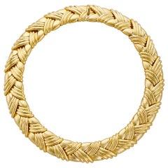18 Karat Yellow Gold Basket Weave Collar Necklace