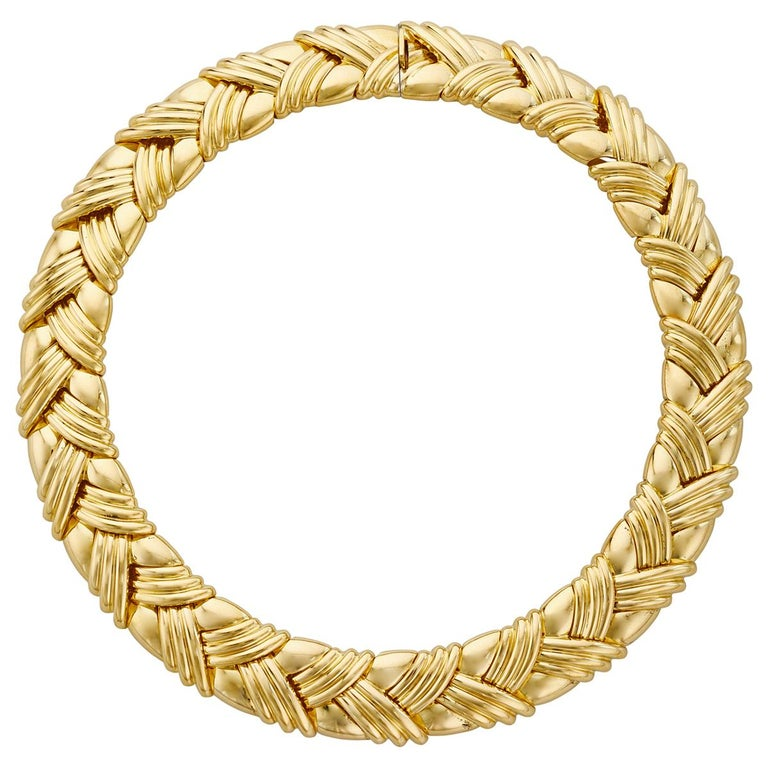 18 Karat Yellow Gold Basket Weave Collar Necklace For Sale