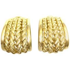 18 Karat Yellow Gold Basket Weave Drop Clip-On Earrings