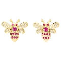 18 Karat Yellow Gold Bee Diamond Ruby Stud Earrings