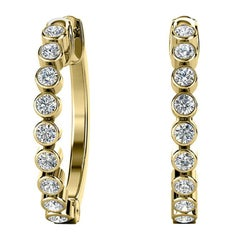 18 Karat Yellow Gold Bezel Hoop Diamond Earrings '1/2 Carat'
