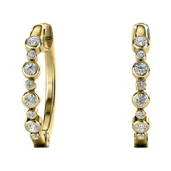 18 Karat Yellow Gold Bezel Hoop Diamond Earrings '1/3 Carat'