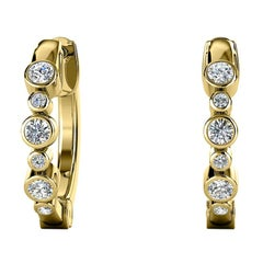18 Karat Yellow Gold Bezel Hoop Diamond Earrings '1/4 Carat'