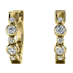 18 Karat Yellow Gold Bezel Hoop Diamond Earrings '1/6 Carat'