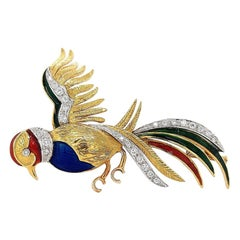 18 Karat Yellow Gold Bird of Paradise Brooch with Diamonds and Enamel