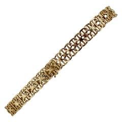 18 Karat Yellow Gold Bismark Link Chain Bracelet