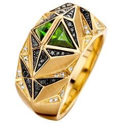 18 Karat Yellow Gold, Black and White Diamond and Tourmaline Carioca Ring