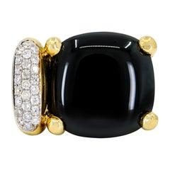 18 Karat Yellow Gold Black Onyx Diamond Cocktail Ring