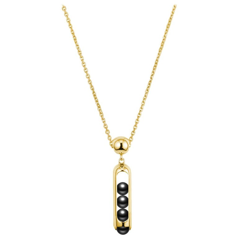 Melody Unisex Small Chain Pendant 18 Karat Yellow Gold Black Onyx beads For Sale