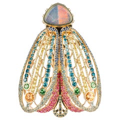 18 Karat Yellow Gold Black Opal and Gemstone Moth Brooch and Necklace Clasp