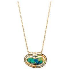 18 Karat Yellow Gold Black Opal Necklace with Diamond, Garnet, and Sapphire Halo