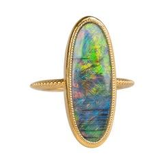 18 Karat Yellow Gold Black Opal Ring