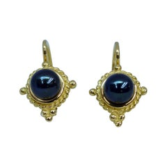 18 Karat Yellow Gold Black Pearl Drop Earrings
