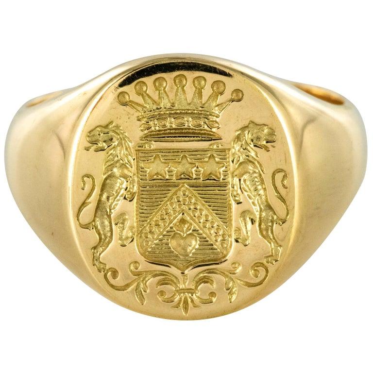 18 Karat Yellow Gold Blazon Men Modern Signet Ring For Sale