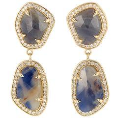 18 Karat Yellow Gold Blue and Cognac Sapphire Diamond Halo Slice Earrings