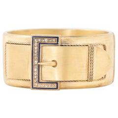 18 Karat Yellow Gold Blue Enamel and 1 Carat Rose Cut Diamond Locket Back Bangle