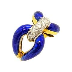 18 Karat Yellow Gold Blue Enamel Love Knot Ring with .43 Carat of Diamonds