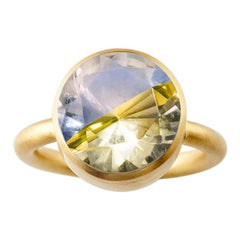 18 Karat Yellow Gold Blue Fluorite and Citrine Two-Stone Modern Cocktail Ring