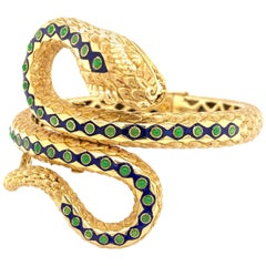 18 Karat Yellow Gold Blue Green Enamel Vintage Snake Bangle Bracelet