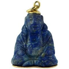 18 Karat Yellow Gold Blue Lapis Lazuli Buddha Large Charm Pendant