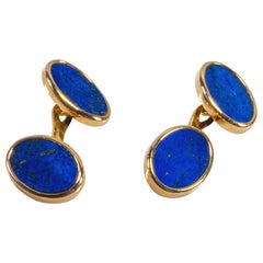 18 Karat Yellow Gold Blue Lapis Lazuli Cufflinks