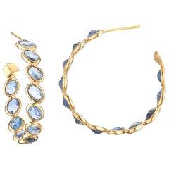 18 Karat Yellow Gold Blue Sapphire 14.75 Carat Ombre Hoop Earrings, Medium