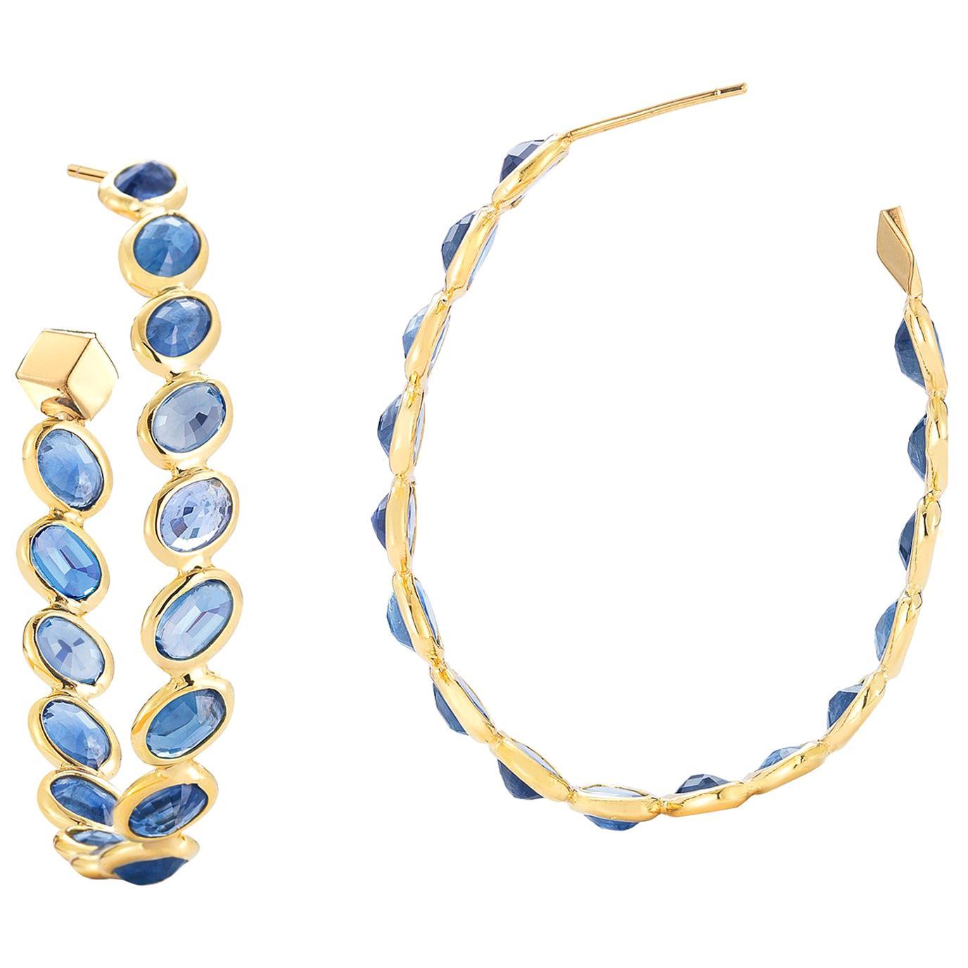 Paolo Costagli 18 Karat Yellow Gold Blue Sapphire Ombre Hoop Earrings, Grande
