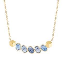18 Karat Gelbgold Blauer Saphir, 2.90 Karat Ombré 'Sorriso' Halskette mit Anhänger