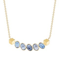 Paolo Costagli 18 Karat Yellow Gold Blue Sapphire Ombré Pendant Necklace