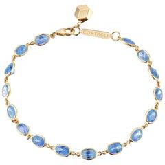 18 Karat Yellow Gold Blue Sapphire 8.50 Carat Ombre Bracelet