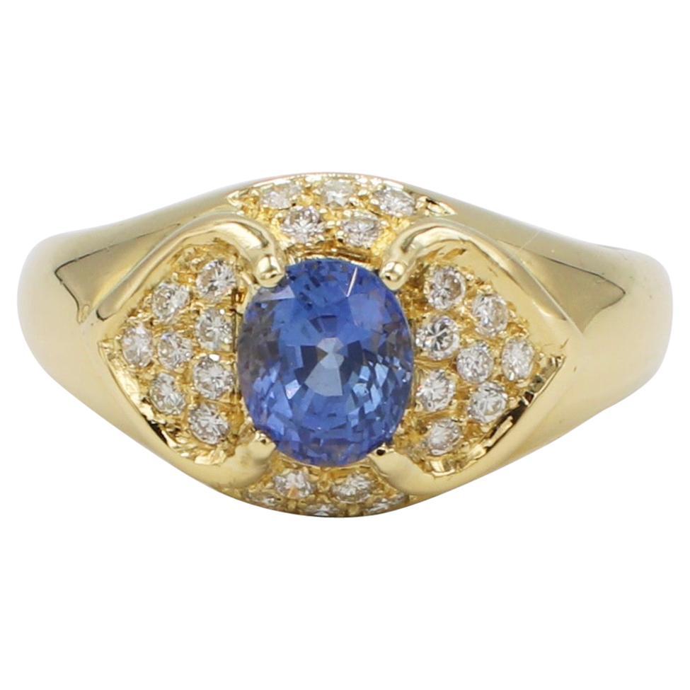 18 Karat Yellow Gold Blue Sapphire and Diamond Cocktail Ring