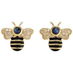 Blue Sapphire Diamond 18 Karat Yellow Gold Bee Stud Earrings