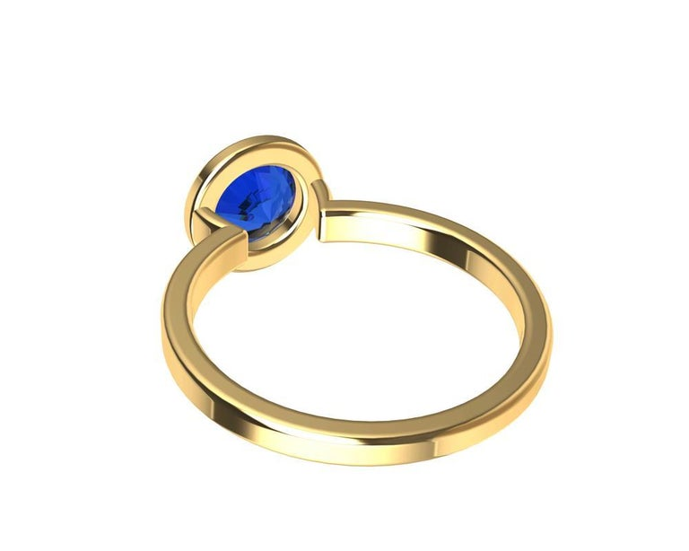 For Sale: undefined 18 Karat Yellow Gold Blue Sapphire Ring 10