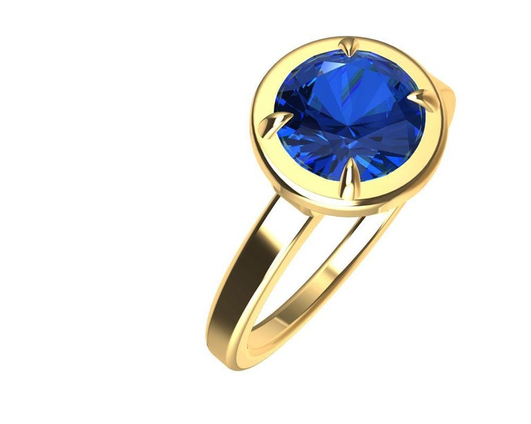 For Sale: undefined 18 Karat Yellow Gold Blue Sapphire Ring 2