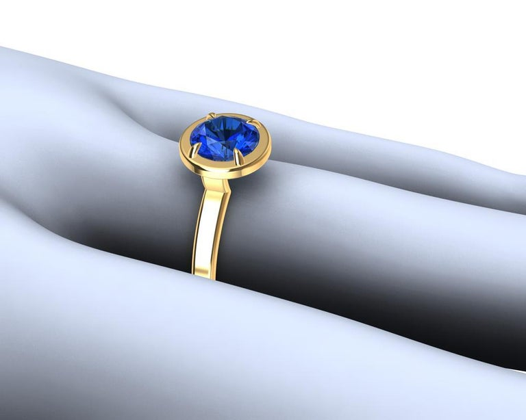 For Sale: undefined 18 Karat Yellow Gold Blue Sapphire Ring 3