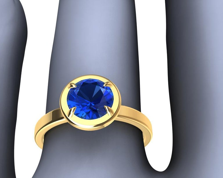 For Sale: undefined 18 Karat Yellow Gold Blue Sapphire Ring 4