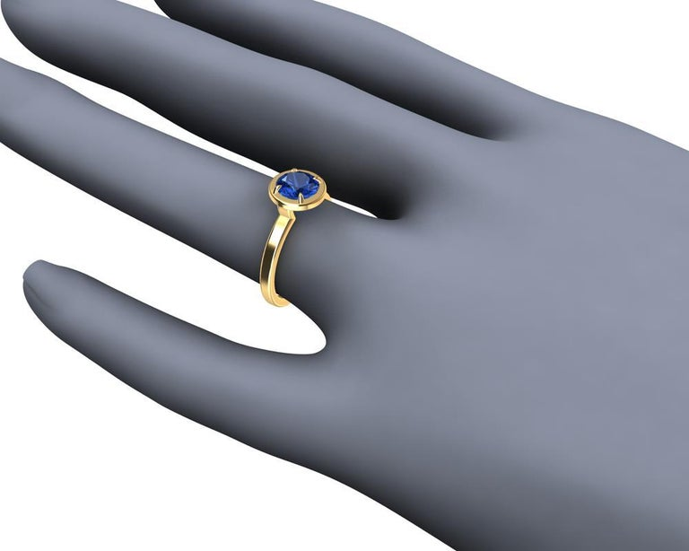For Sale: undefined 18 Karat Yellow Gold Blue Sapphire Ring 5