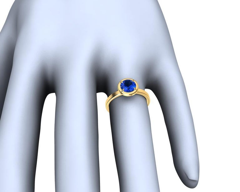 For Sale: undefined 18 Karat Yellow Gold Blue Sapphire Ring 6
