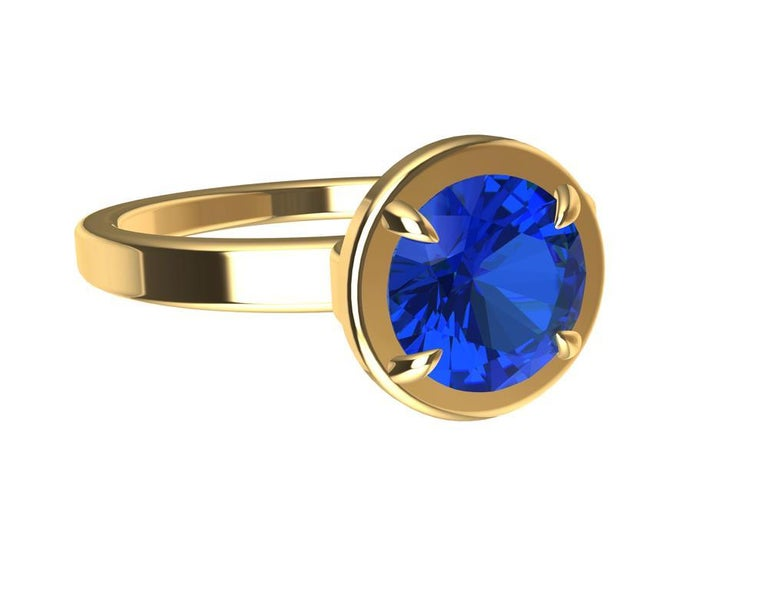 For Sale: undefined 18 Karat Yellow Gold Blue Sapphire Ring 7