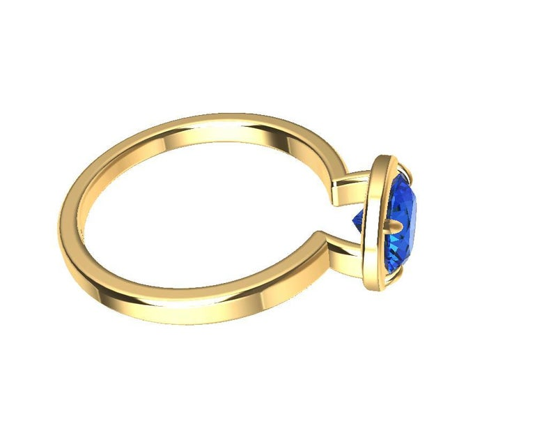 For Sale: undefined 18 Karat Yellow Gold Blue Sapphire Ring 8