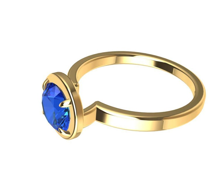 For Sale: undefined 18 Karat Yellow Gold Blue Sapphire Ring 9